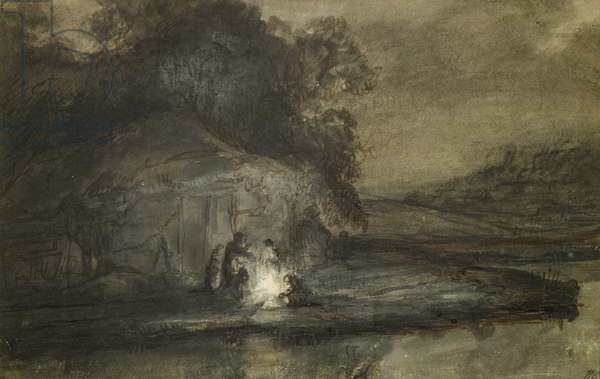 Nocturnal landscape with a river and shepherds (pen and ink wash with bodycolour on paper)