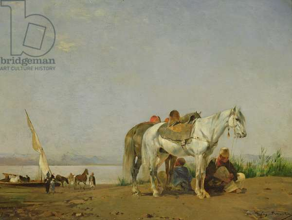 On the bank of the Nile, 1871 (oil on panel)