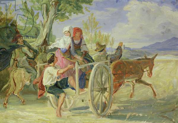 Italian Cart (oil on paper laid down on paperboard)