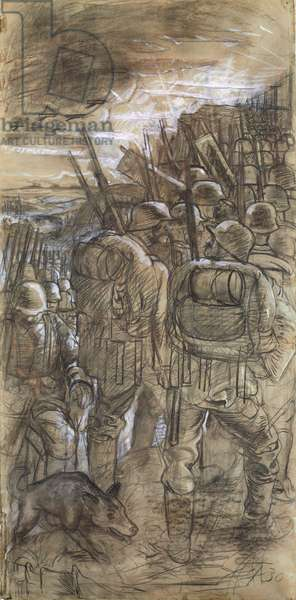 Study for the left panel of the 'War' Triptych, 1930 (pencil, charcoal and crayon on paper) (see also 144778, 144780 and 144781)