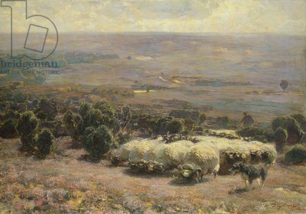 A Herd of Sheep in the Luneburger Heide, 1902 (oil on canvas)