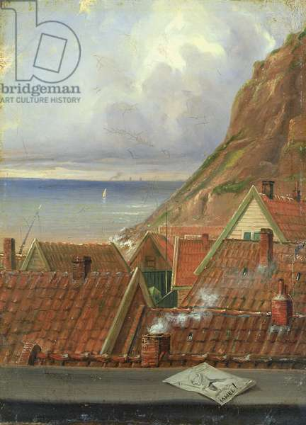 View from a Window of Helgoland (oil on canvas laid down on paperboard)