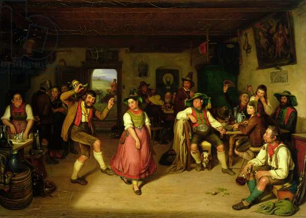Target Shooting and Dancing in Oberbayern, 1841 (oil on canvas)