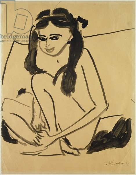 Crouching Nude Girl, 1907 (pen & ink on paper)