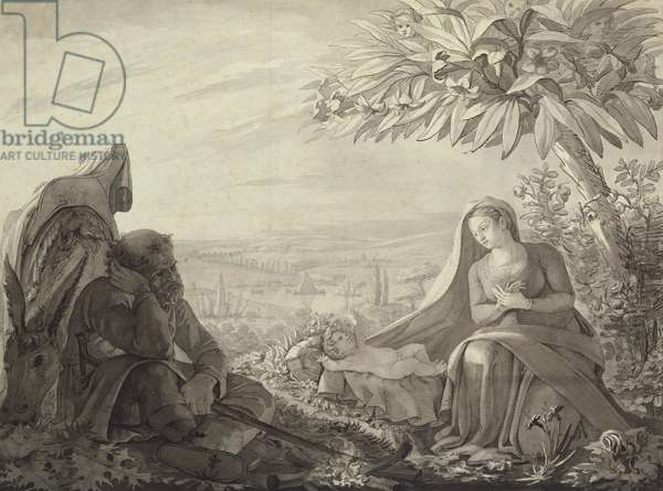 Rest on the Flight into Egypt, 1805 (pen and ink and wash on paper)