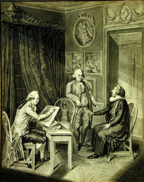 Christian Andreas Georg Stottrupp (1789-1835), Pastor Sturm and Philipp Emanuel Bach (1714-88) (indian ink on paper)