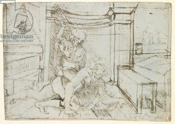 Aristotle and Phyllis (or Campaspe), c.1480 (pen and ink on blue paper)