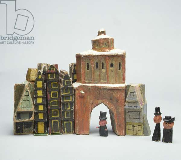 Street scene from the series, 'The Town at the End of the World' (painted wood)