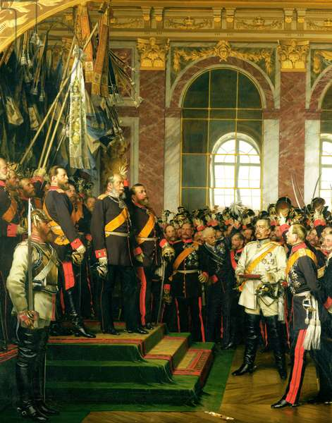 The Proclamation of Wilhelm as Kaiser of the new German Reich, in the Hall of Mirrors at Versailles on 18th January 1871, painted 1885 (oil on canvas) (see also 153620)