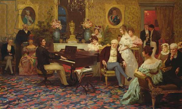 Chopin Playing the Piano in Prince Radziwill's Salon, 1887 (oil on canvas)