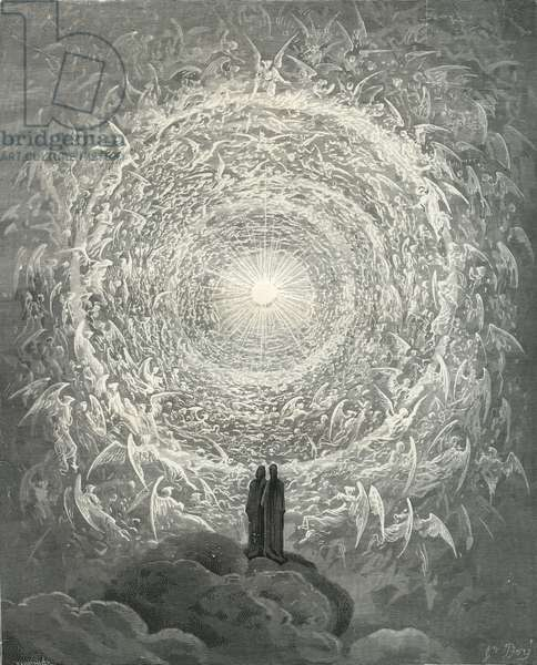 The Divine Comedy, Paradiso, Canto 31: The saintly throng form a rose in the empyrean (rose celeste) - by Dante Alighieri (1265-1321), (engraving)