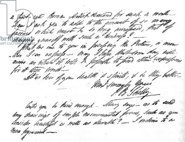 Letter from  Percy Bysshe Shelley to Miss Curran