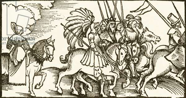 Lady on Horseback and Cavalcade woodcut by Urs Graf, 1521