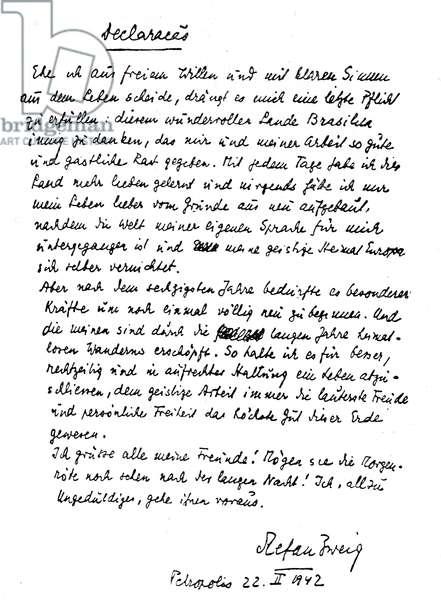 Stefan Zweig's last message