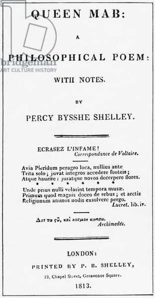 Queen Mab by Percy Shelley - Title page