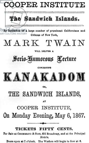 Mark Twain - poster for Sandwich Islands or Kanakadom talk  6 May, 1867