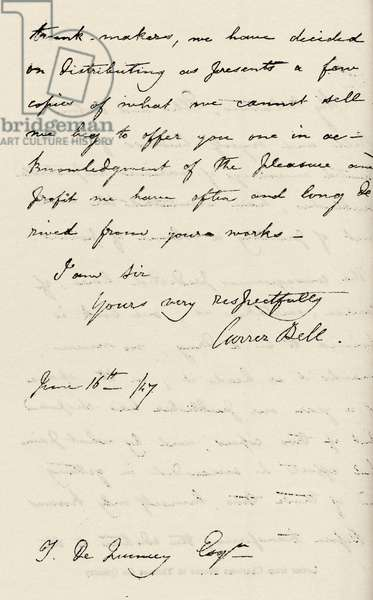 Charlotte Bronte - Letter