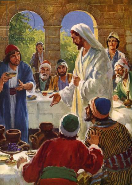 Jesus turns water into wine at a marriage in Cana