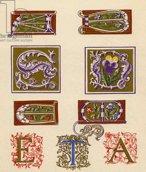Sixteenth century illuminated letters