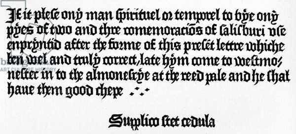 William Caxton's Advertisement at