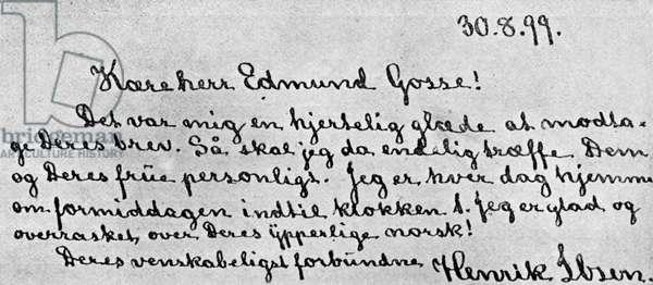 Letter from Henrik Ibsen