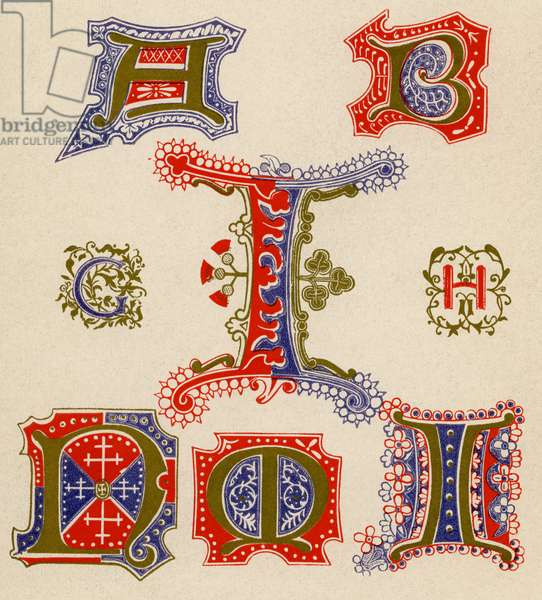 Illuminated Letters A, B, C, I, H, N and O.