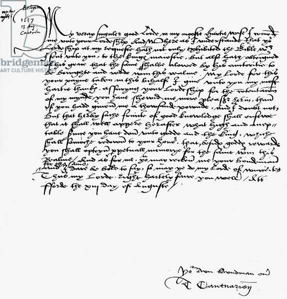 Letter from Thomas Cranmer to Thomas Cromwell