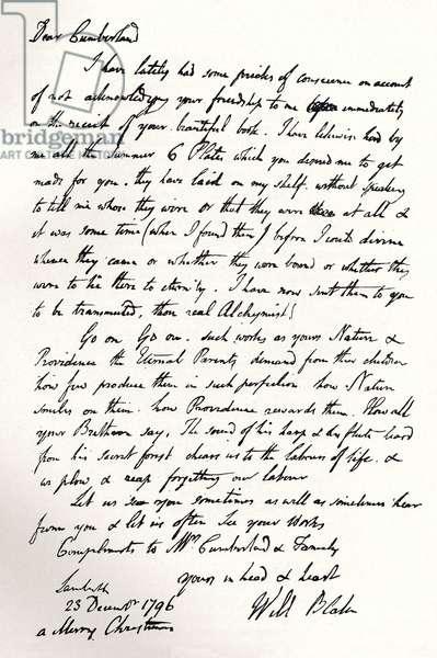 William Blake facsimile autograph