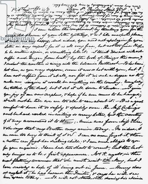 Letter from Jane Austen to Cassandra Austen