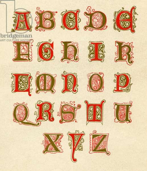 Fifteenth century illuminated alphabet
