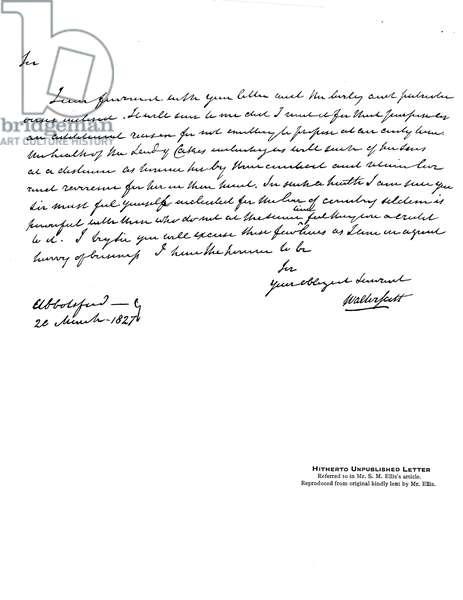 Letter written by Sir Walter Scott