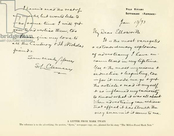 A letter from Mark Twain to Mr. Ellsworth