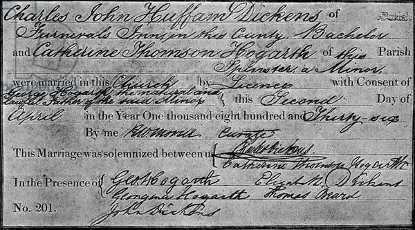 Charles Dickens's marriage certificate