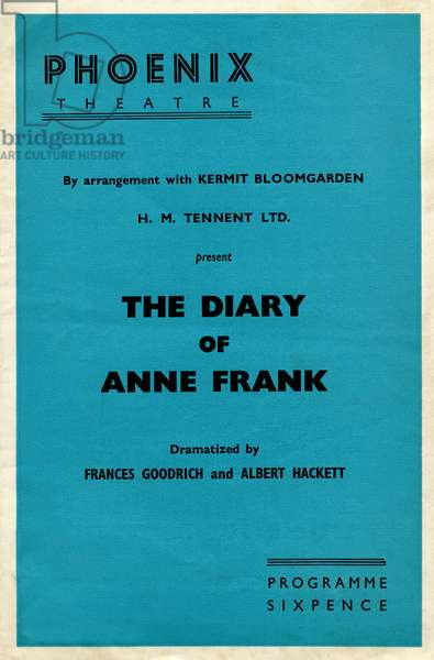 The diary of Anne Frank programme cover