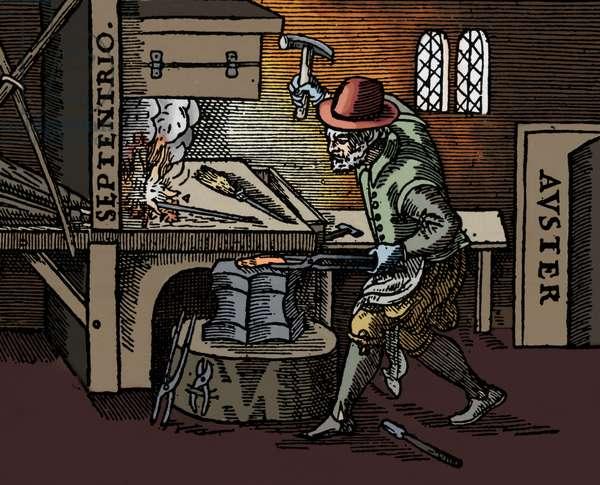 Blacksmith at his anvil