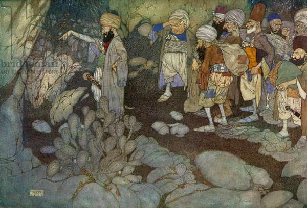 Ali Baba and the Forty Thieves, illustration from the Arabian Nights, 1907 (lithograph)