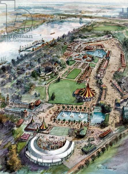 Festival of Britain Exhibition, Festival Pleasure Gardens in Battersea Park. An artist's impression. from The Illustrated London News, May 12, 1951