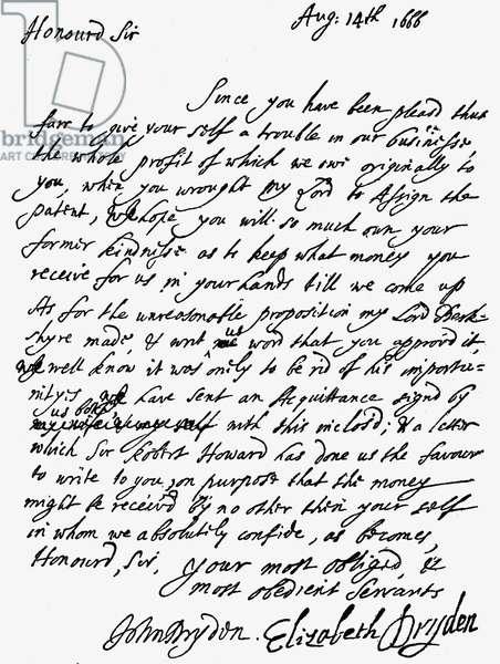 Letter from John Dryden