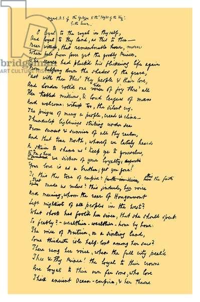 Autograph: Alfred Tennyson, Lord Tennyson, 1872.