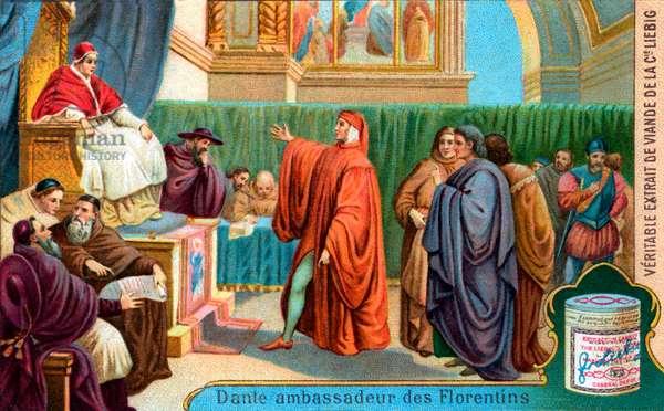 Dante Alighieri before Pope Boniface VIII