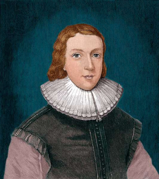 John Milton aged 21 in 1731. English poet