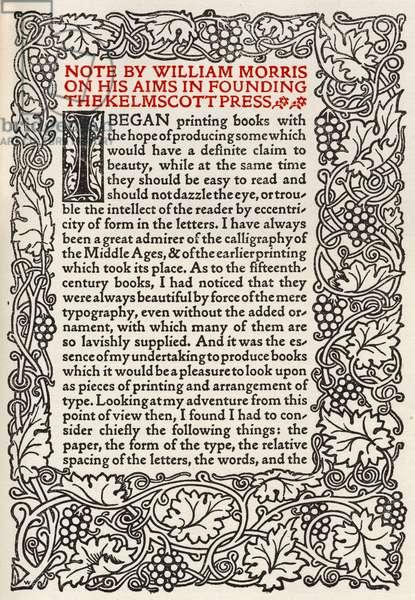 William Morris' Manifesto for