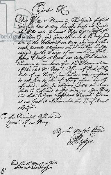 Samuel Pepys - letter