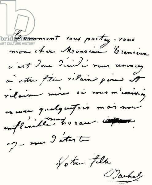 Rachel (Elisabeth Rachel Félix) handwritten letter