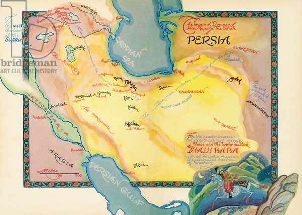 Hajji Baba of Ispahan by James Morier - map of Persia