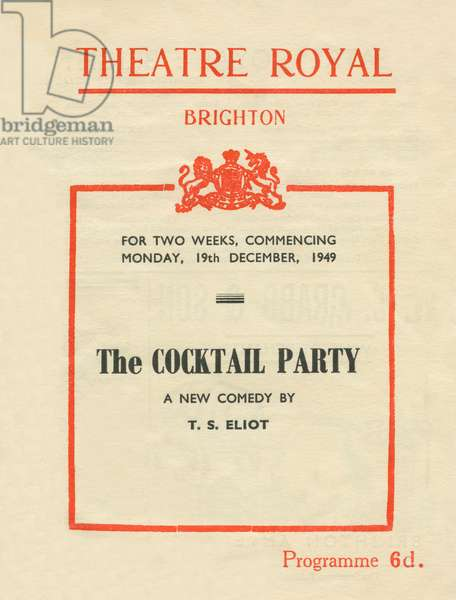 T S Eliot - The Cocktail Party, programme cover
