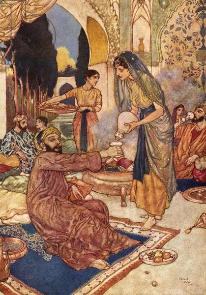 An Orientalist scene illustrating the 57th quatrain of the 'Rubaiyat of Omar Khayyam', 1910 (lithograph)