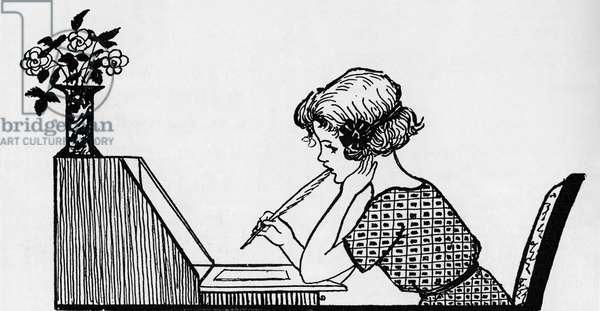 Rosebud at her desk