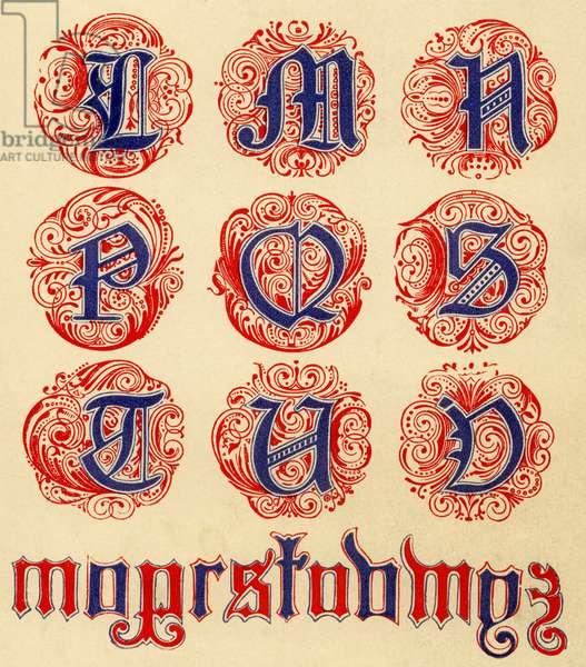 Red and blue illuminated alphabet