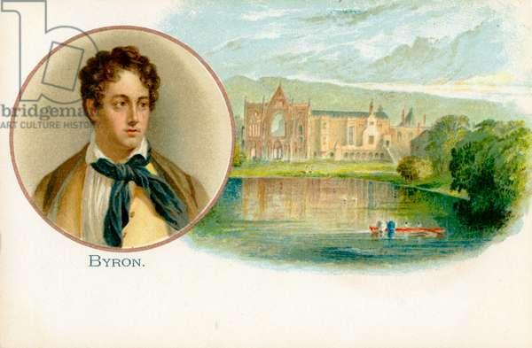 Lord Byron - portrait with Newstead Abbey